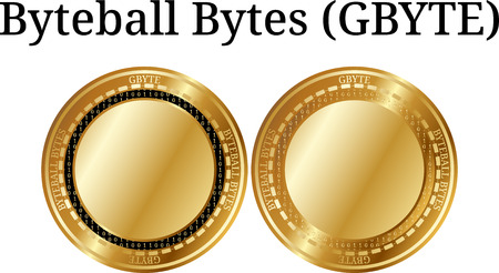Set of physical golden coin Byteball Bytes (GBYTE), digital cryptocurrency. Byteball Bytes (GBYTE) icon set. Vector illustration isolated on white background. Ilustrace