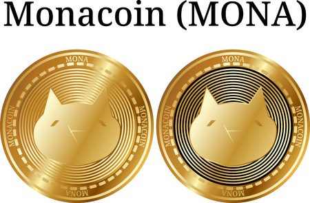 Set of physical golden coin Monacoin (MONA), digital cryptocurrency. Monacoin (MONA) icon set. Vector illustration isolated on white background.