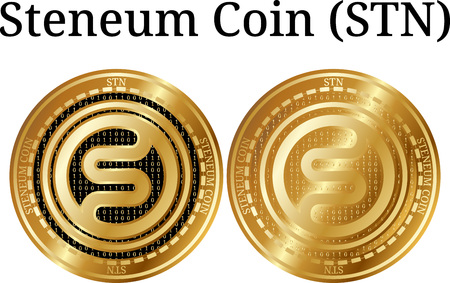 Set of physical golden coin Steneum Coin (STN), digital cryptocurrency. Steneum Coin (STN) icon set. Vector illustration isolated on white background. Vektorové ilustrace