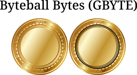 Set of physical golden coin Byteball Bytes, digital cryptocurrency. Byteball Bytes icon set. Vector illustration isolated on white background.