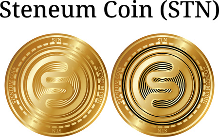 Set of physical golden coin Steneum Coin (STN), digital cryptocurrency. Steneum Coin (STN) icon set. Vector illustration isolated on white background.