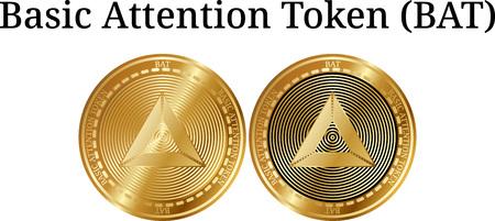 Set of physical golden coin Basic Attention Token (BAT), digital cryptocurrency. Basic Attention Token (BAT) icon set. Vector illustration isolated on white background. Ilustração