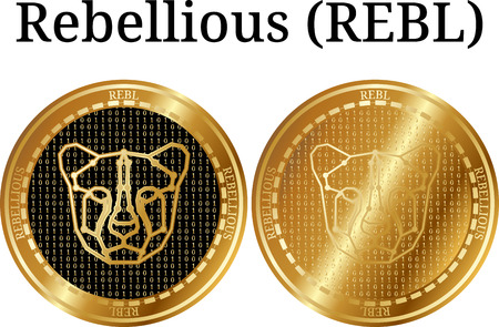 Set of physical golden coin Rebellious, digital cryptocurrency. Rebellious icon set. Vector illustration isolated on white background.
