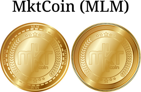 Set of physical golden coin MktCoin (MLM), digital crypto currency, Vector illustration isolated on white background. Illustration