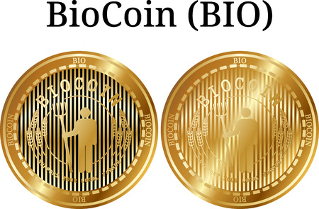 Icon set of isolated physical golden biocoin digital cryptocurrency vector illustration