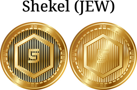 Set of physical golden coin Shekel (JEW), digital cryptocurrency. Shekel (JEW) icon set. Vector illustration isolated on white background.