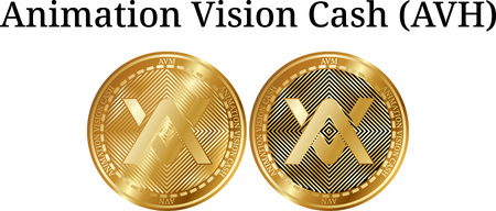 Set of physical golden coin animation vision cash (AVH) digital cryptocurrency icon set vector illustration