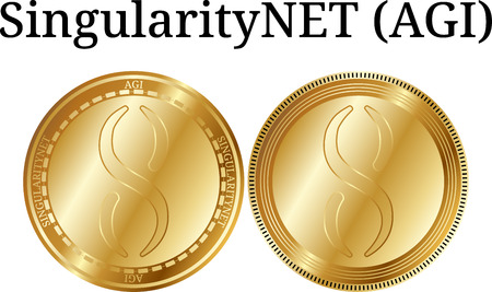 Set of physical golden coin SingularityNET (AGI), digital cryptocurrency. SingularityNET (AGI) icon set. Vector illustration isolated on white background. Vectores