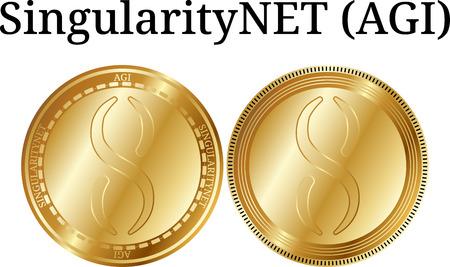Set of physical golden coin SingularityNET (AGI), digital cryptocurrency. SingularityNET (AGI) icon set. Vector illustration isolated on white background. Illustration