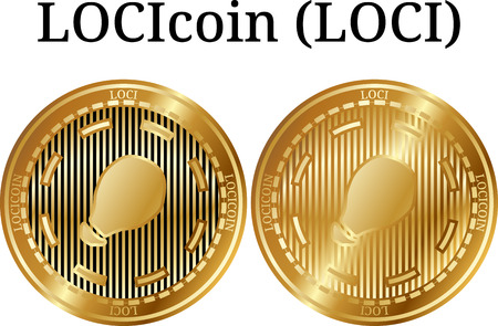 Set of physical golden coin LOCIcoin (LOCI), digital crypto currency, Vector illustration isolated on white background.