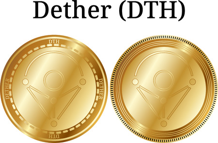 Set of physical golden coin Dether (DTH), digital crypto currency, Vector illustration isolated on white background.