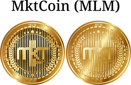 Set of physical golden coin MktCoin (MLM), digital cryptocurrency. MktCoin (MLM) icon set. Vector illustration isolated on white background. Imagens - 102070695