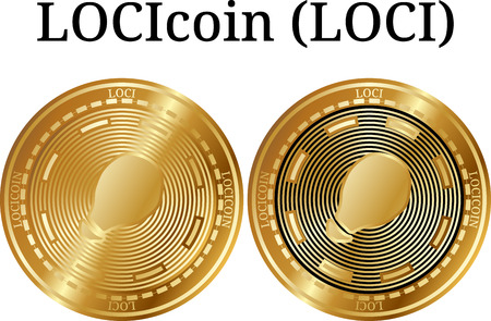Set of physical golden coin digital crypto-currency. Illustration