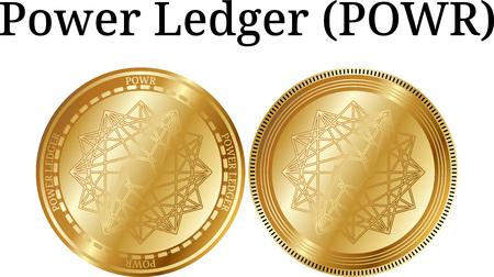 Set of physical golden coin Power Ledger (POWR), digital cryptocurrency. Power Ledger (POWR) icon set. Vector illustration isolated on white background. Illustration