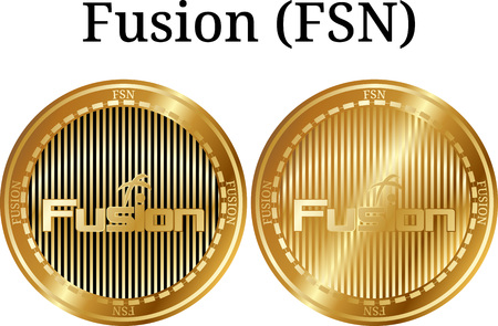 Set of physical golden coin Fusion (FSN), digital cryptocurrency. Fusion (FSN) icon set. Vector illustration isolated on white background.
