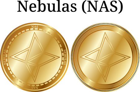 Set of physical golden coin Nebulas (NAS), digital cryptocurrency. Foto de archivo - 95756987