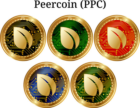 Set of physical golden coin Peer-coin (PPC), digital crypto-currency.