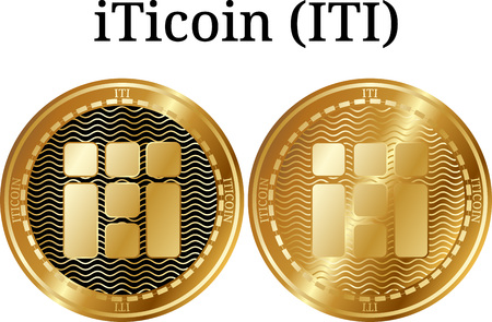 Set of physical golden coin iTicoin (ITI), digital cryptocurrency. iTicoin (ITI) icon set. Vector illustration isolated on white background.