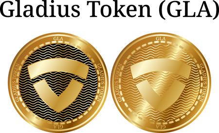 Set of physical golden coin Gladius Token (GLA), digital cryptocurrency. Gladius Token (GLA) icon set. Vector illustration isolated on white background.