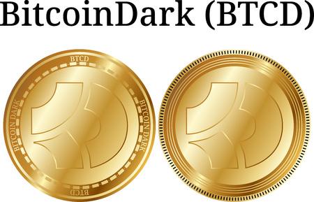 Set of physical golden coin BitcoinDark (BTCD), digital cryptocurrency. BitcoinDark (BTCD) icon set. Vector illustration isolated on white background. Illustration