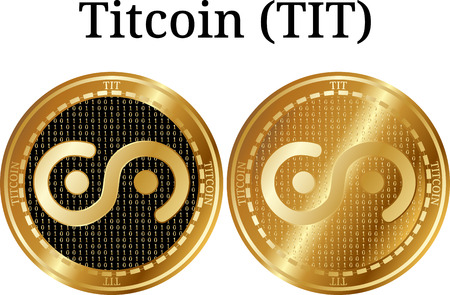 Set of physical golden coin Titcoin (TIT), digital cryptocurrency. Titcoin (TIT) icon set.