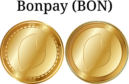Set of physical golden coin Bonpay (BON), digital cryptocurrency. Bonpay (BON) icon set. Vector illustration isolated on white background.