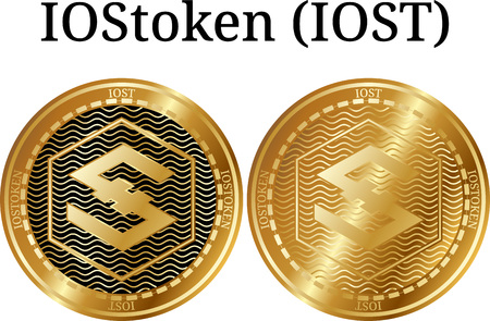 Set of physical golden coin IOStoken (IOST), digital cryptocurrency. IOStoken (IOST) icon set. Vector illustration isolated on white background.