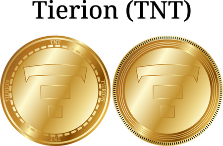 Set of physical golden coin Tierion (TNT), digital cryptocurrency. Tierion (TNT) icon set. Vector illustration isolated on white background.
