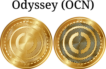 Set of physical golden coin Odyssey (OCN), digital cryptocurrency. Odyssey (OCN) icon set. Vector illustration isolated on white background.