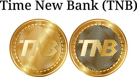 Set of physical golden coin Time New Bank (TNB), digital cryptocurrency. Time New Bank (TNB) icon set. Vector illustration isolated on white background.