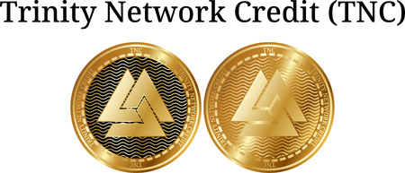 Set of physical golden coin Trinity Network Credit (TNC), digital cryptocurrency. Trinity Network Credit (TNC) icon set. Vector illustration isolated on white background.