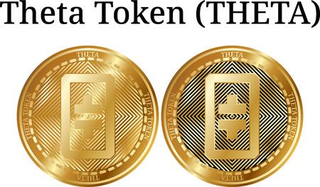 Set of physical golden coin Theta Token (THETA), digital cryptocurrency. Theta Token (THETA) icon set. Vector illustration isolated on white background.