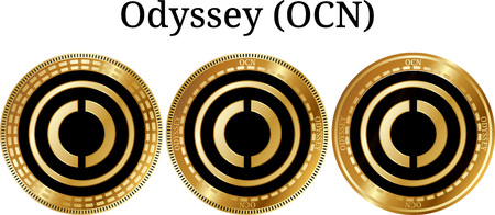 Set of physical golden coin Odyssey, digital cryptocurrency. Odyssey icon set. Vector illustration isolated on white background.