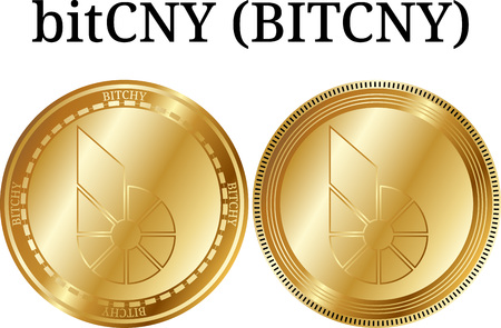 Set of physical golden coin Bitcny (BITCHY), digital cryptocurrency. Bitcny (BITCHY) icon set. Vector illustration isolated on white background. Illustration