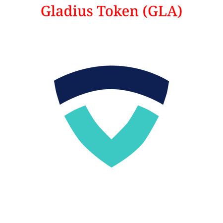 Vector Gladius Token (GLA) digital cryptocurrency logo. Gladius Token (GLA) icon. Vector illustration isolated on white background.