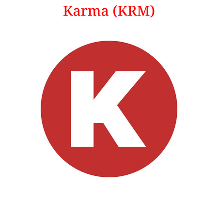 Vector Karma (KRM) digital cryptocurrency logo. Karma (KRM) icon. Vector illustration isolated on white background. Logó