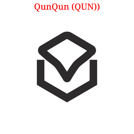 QunQun digital cryptocurrency icon vector illustration isolated on white background.