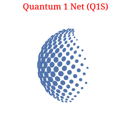 A Vector Quantum 1 Net (Q1S) digital crypto-currency logo. Quantum 1 Net (Q1S) icon Vector illustration isolated on white background.