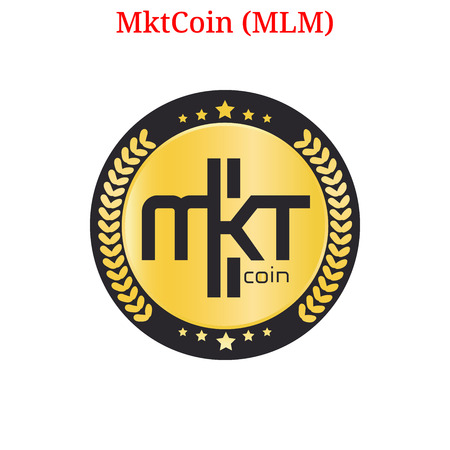 Vector MktCoin (MLM) digital cryptocurrency logo. MktCoin (MLM) icon. Vector illustration isolated on white background. Illustration