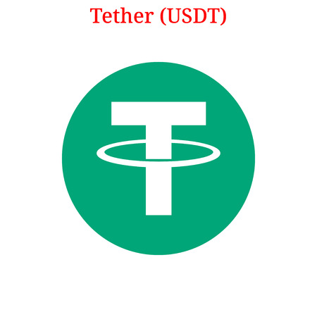 Vector Tether (USDT) digital cryptocurrency logo. Tether (USDT) icon. Vector illustration isolated on white background. Illustration