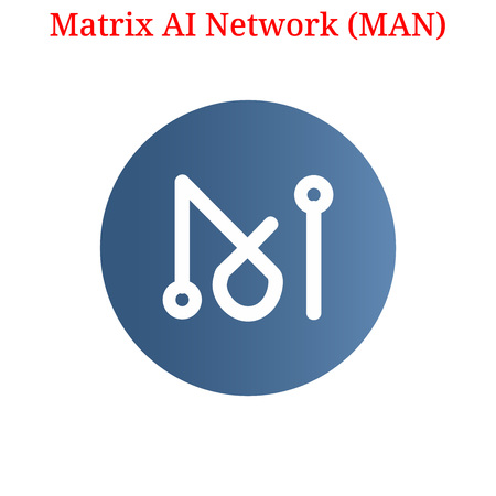Vector Matrix AI Network (MAN) digital cryptocurrency logo. Matrix AI Network (MAN) icon. Vector illustration isolated on white background.