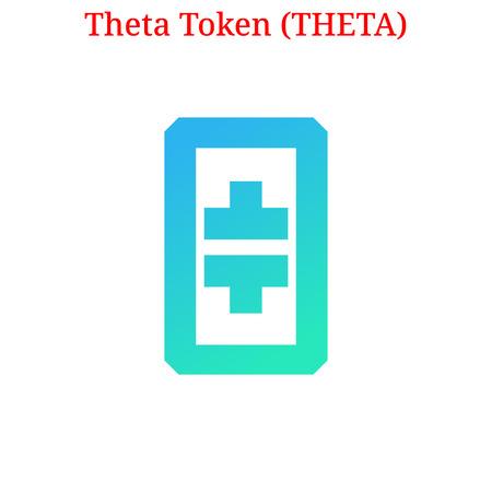 Vector Theta Token (THETA) digital cryptocurrency logo. Theta Token (THETA) icon. Vector illustration isolated on white background.