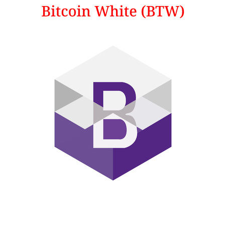 Vector Bitcoin White (BTW) digital cryptocurrency logo. Bitcoin White (BTW) icon. Vector illustration isolated on white background.