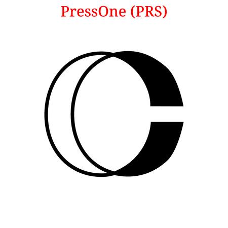 Vector PressOne (PRS) digital cryptocurrency logo. PressOne (PRS) icon. Vector illustration isolated on white background.