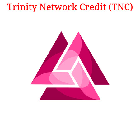 Vector Trinity Network Credit (TNC) digital cryptocurrency logo. Trinity Network Credit (TNC) icon. Vector illustration isolated on white background.