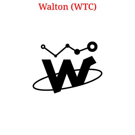 Vector Walton (WTC) digital cryptocurrency logo. Walton (WTC) icon. Vector illustration isolated on white background.