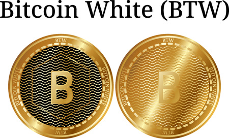 Set of physical golden coin Bitcoin White (BTW), digital cryptocurrency. Bitcoin White (BTW) icon set. Vector illustration isolated on white background.