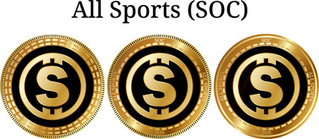 Set of physical golden coin All Sports (SOC), digital cryptocurrency. All Sports (SOC) icon set. Vector illustration isolated on white background.