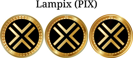 Set of physical golden coin Lampix (PIX), digital cryptocurrency. Lampix (PIX) icon set. Vector illustration isolated on white background.