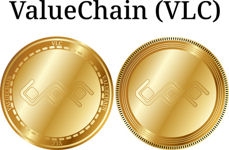 Set of physical golden coin ValueChain (VLC), digital cryptocurrency. ValueChain (VLC) icon set. Vector illustration isolated on white background. Illustration
